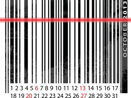 OCTOBER 2013 Calendar, Barcode Design. vector illustration Vector