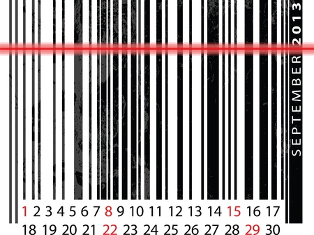 SEPTEMBER 2013 Calendar, Barcode Design. vector illustration Vector