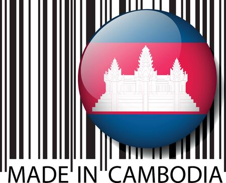 cambodian flag: Made in Cambodia barcode. Vector illustration