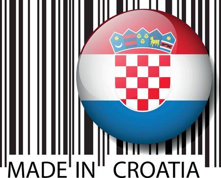 bandera de croacia: Hecho en código de barras Croacia. Ilustración vectorial
