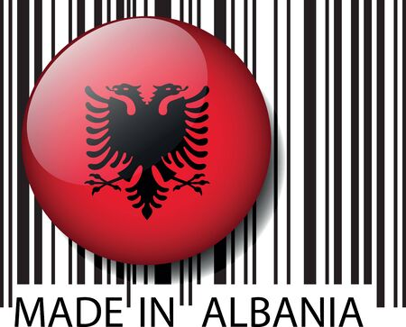 albanian: Made in Albania barcode. Vector illustration