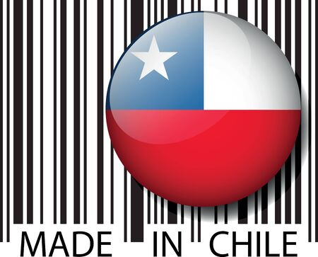chile flag: Made in Chile barcode. Vector illustration