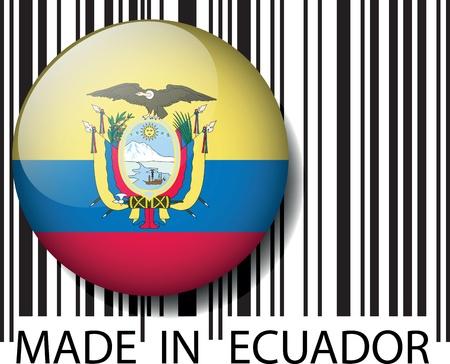 ecuador: Made in Ecuador barcode. Vector illustratie Stock Illustratie