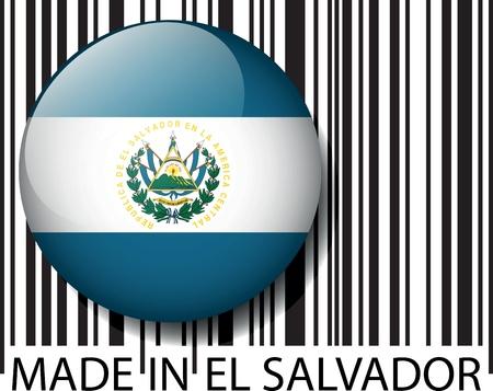 bandera de el salvador: Hecho en código de barras de El Salvador. Ilustración vectorial