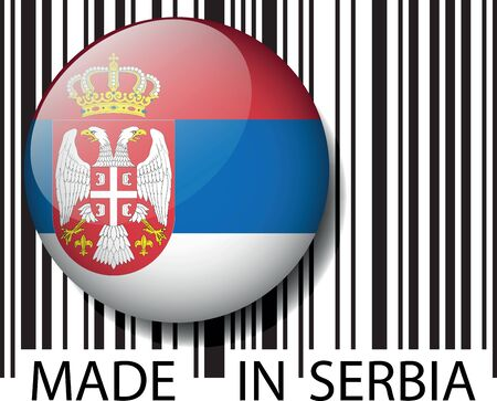 serbia flag: Made in Serbia barcode. Vector illustration