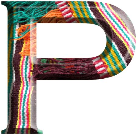 Letter P made with hand made woolen fabric photo