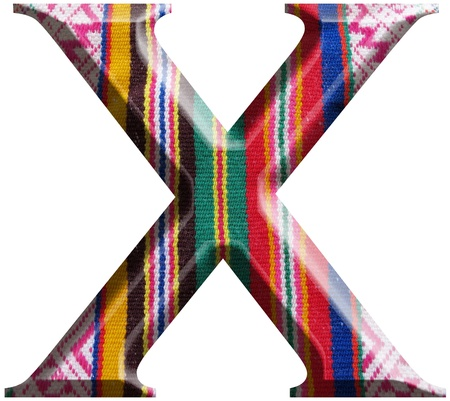 Letter X made with hand made woolen fabric photo