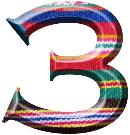 3rd ancient: Number 3 made with hand made woolen fabric Stock Photo