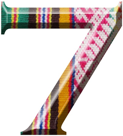 Number 7 made with hand made woolen fabric photo