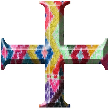 addition symbol: Sign plus Symbol made with hand made woolen fabric