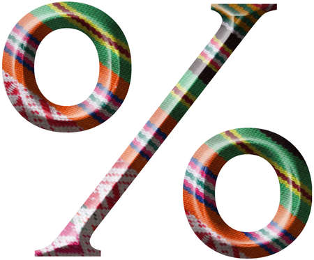 Percentage Symbol made with hand made woolen fabric Stock Photo - 14586029