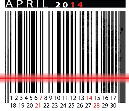 MAY 2014 Calendar, Barcode Design. vector illustration  Stock Vector - 14657044