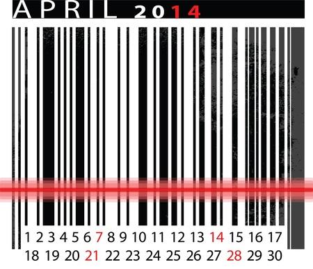 MAY 2014 Calendar, Barcode Design. vector illustration Stock Vector - 14657044