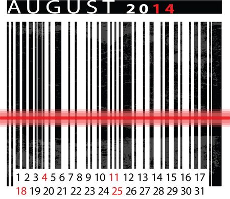 AUGUST 2014 Calendar, Barcode Design. Stock Vector - 14679876