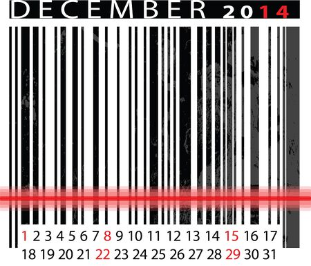 DECEMBER 2014 Calendar, Barcode Design.  Vector