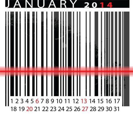 JANUARY 2014 Calendar, Barcode Design. Vector