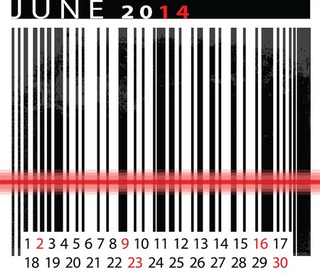 JUNE 2014 Calendar, Barcode Design. vector illustration  Stock Vector - 14657042