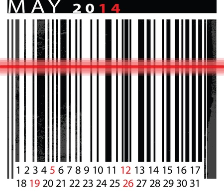 MAY 2014 Calendar, Barcode Design. vector illustration  Vector