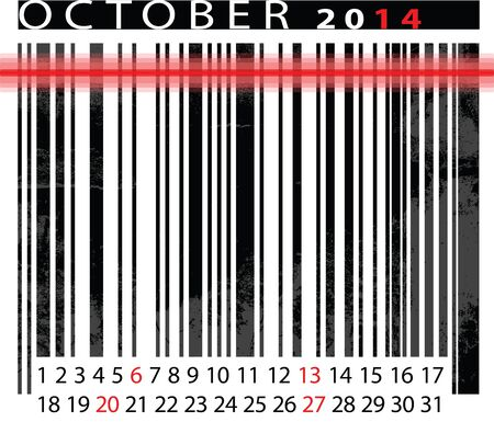 OCTOBER 2014 Calendar, Barcode Design. Stock Vector - 14657033