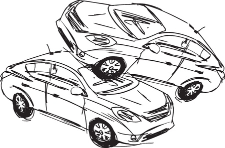 Sketch of Two cars in an accident isolated on a white background.