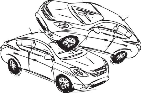 metallschrott: Skizze zweier Autos bei einem Unfall auf einem wei�en Hintergrund.