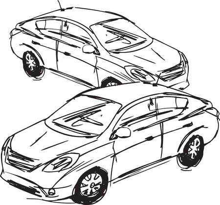 Sketch of cars. Vector