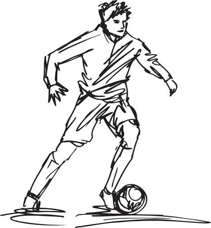 futbol: Schizzo di Soccer Player Kicking Ball.