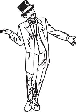 skizzieren der Zauberer winkte mit der Hand grüßend zur Seite.