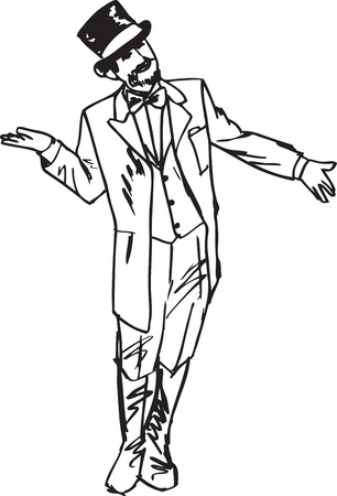 sketch the magician waved his hand in greeting to the side.  Vector