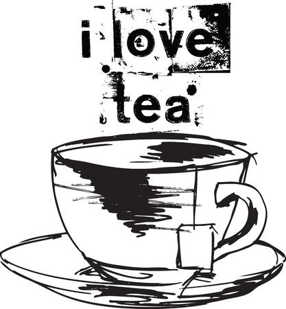 afternoon: Sketch de Taza de t� con el bolso de t�. Vectores