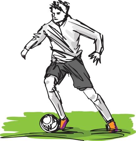 kicking ball: Bosquejo del Jugador de f�tbol Patear Pelota