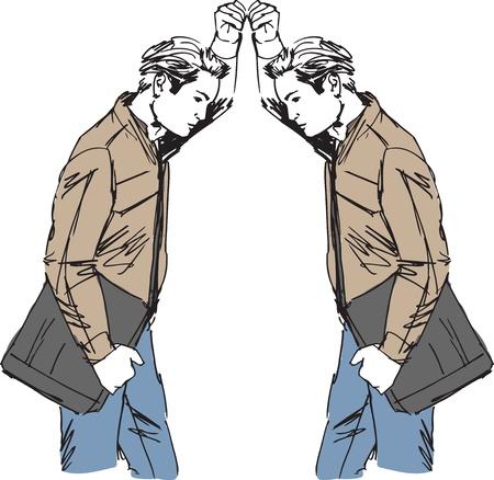 cansancio: bosquejo del hombre echa un vistazo a sí mismo en el espejo.