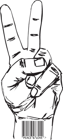 victory sign: Sketch of barcoded hand in victory sign