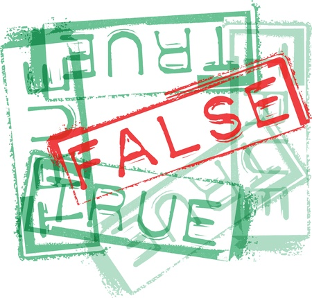 falso: Verdadero  falso de goma de impresión de sellos. Ilustración vectorial