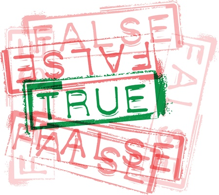 truthfulness: TRUE  FALSE rubber stamp print. Vector illustration