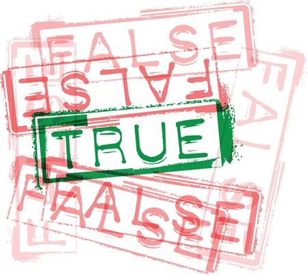 falso: VERDADERO  FALSO goma de impresión de sellos. Ilustración vectorial