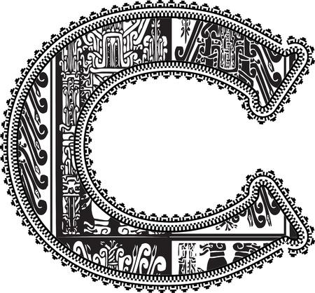 Ancient letter C. Vector illustration Vector