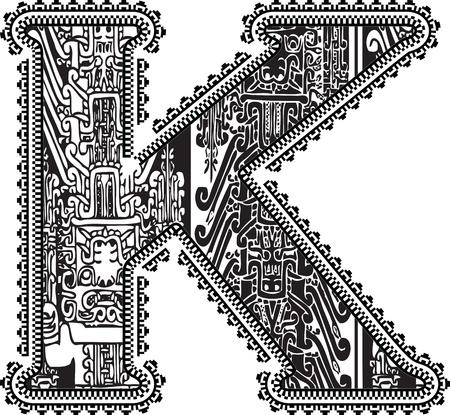 buchstabe k: Alte Buchstaben K. Vector illustration Illustration