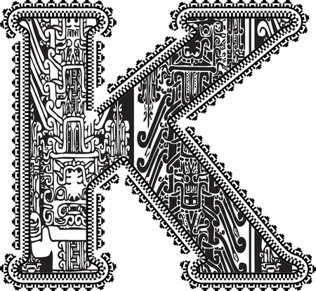 Ancient letter K. Vector illustration Vector
