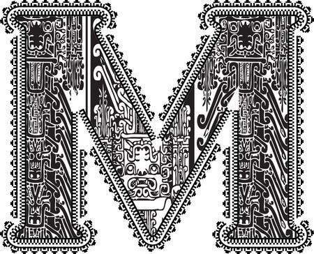 Ancient letter M. Vector illustration Illustration