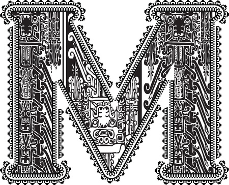 letra m: Carta de M. Antigua ilustraci�n vectorial