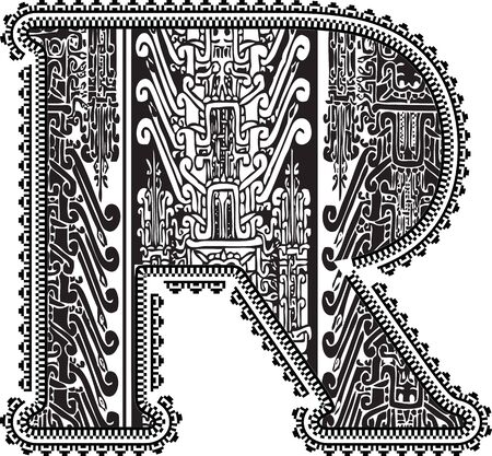 peruvian: Ancient letter R. Vector illustration