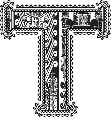 Ancient letter T. Vector illustration Vector