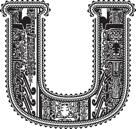 Ancient letter U. Vector illustration Vector