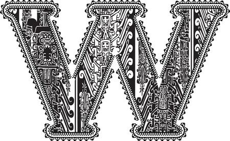 Ancient letter W. Vector illustration Vector
