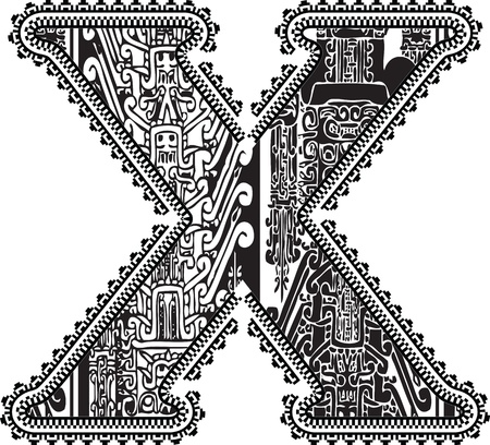 Ancient letter X. Vector