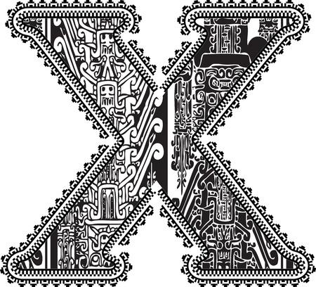 letter x: Ancient letter X. Illustration