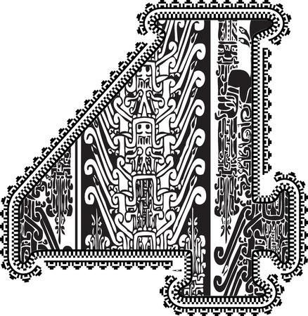 number 4: Ancient number 4. Vector illustration Illustration