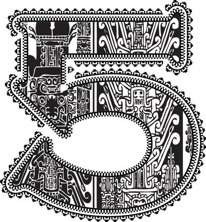 Ancient number 5. Vector illustration Illustration