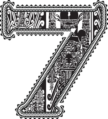 seven: Ancient number 7. Illustration